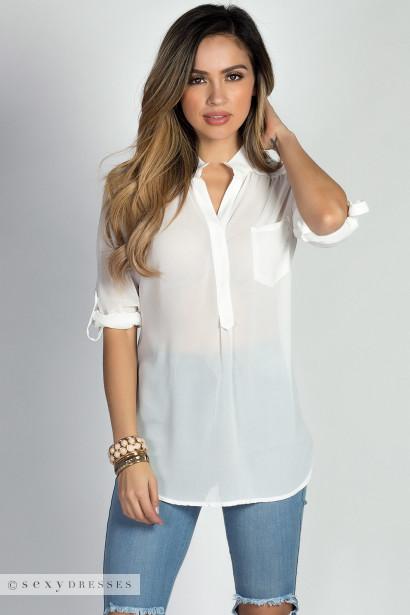 """Daphne"" White Chiffon Tunic Blouse with Sleeves"