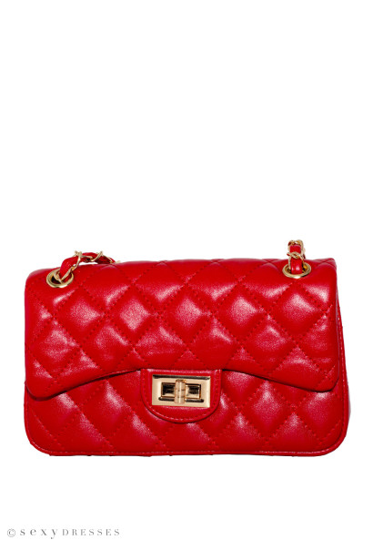 Red Leather Diamond Stitch Bag