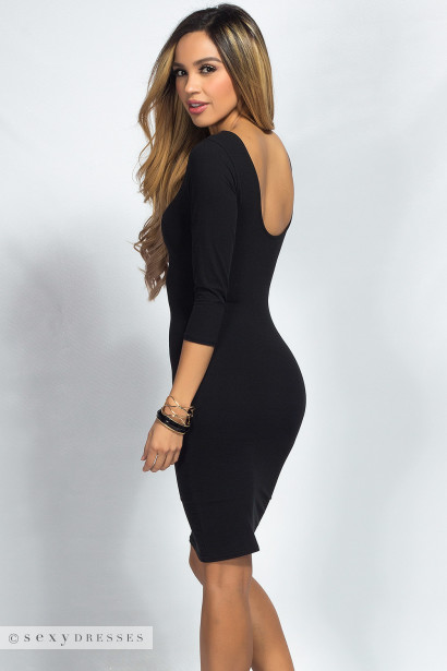 """Dylan"" Black 3/4 Sleeve Cute and Casual Bodycon Dress"
