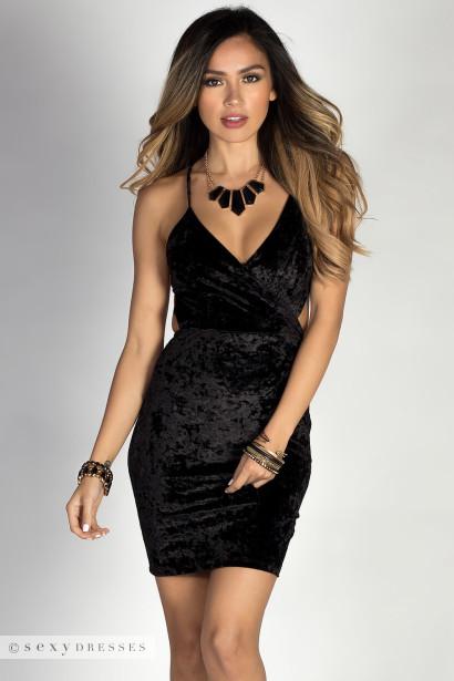 Geri Black Crushed Velvet Strappy Backless Mini Dress