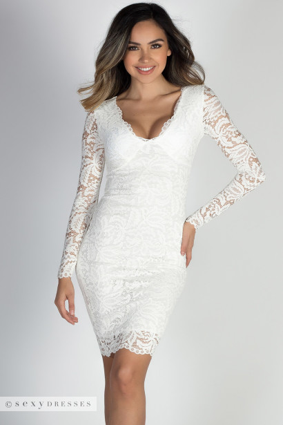 """At Last"" White Long Sleeve V Neck Elegant Lace Dress"