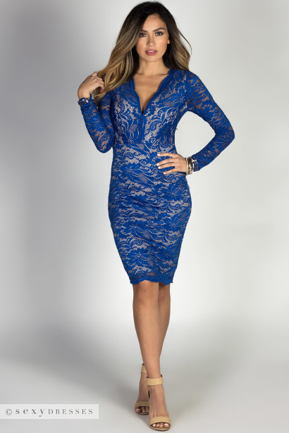 """Coraline"" Royal Lace V Neck Long Sleeve Midi Cocktail Dress"