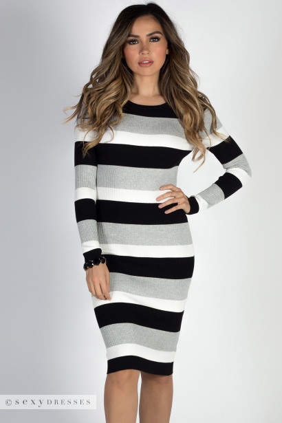 """Saturday Vibes"" Black, Gray & White Striped Midi Sweater Dress"