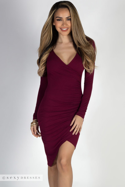 Long sleeve bodycon wrap dress