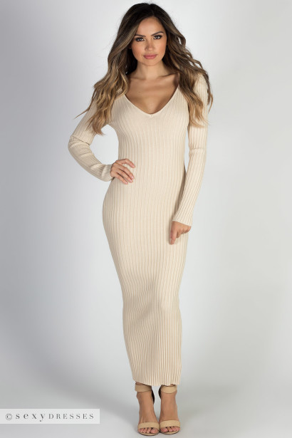"""Autumn Leaves"" Taupe V Neck Bodycon Long Sweater Dress"