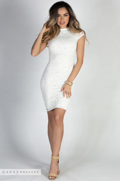 """""""In the Hamptons"""" White Short Sleeve Bodycon Lace Midi Dress"""