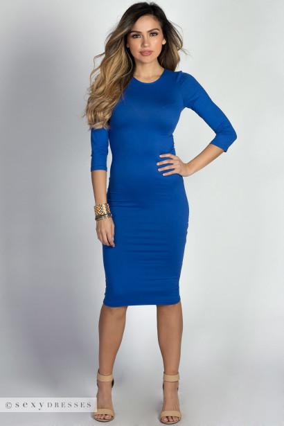 """Margo"" Royal Blue 3/4 Sleeve Jersey Bodycon Midi Dress"