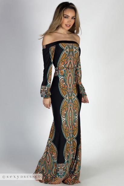"""Gypsy Life"" Black Boho Off Shoulder Long Sleeve Maxi Print Dress"