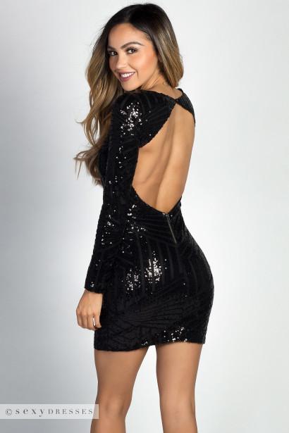 Cheyenne&quot Black Geo Sequin Long Sleeve Backless Mini Dress