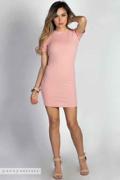 """Romy"" Rose Raglan Half Sleeve Bodycon Mini Dress"