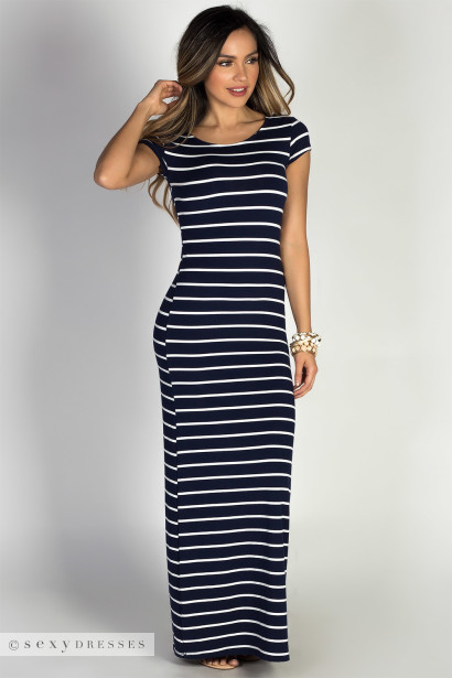 """Keep It Casual"" Navy & White Striped Jersey Short Sleeve Bodycon T Shirt Maxi Dress"