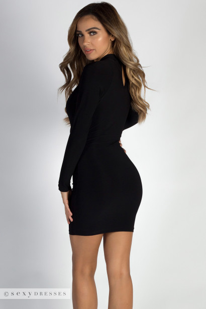 """We Be Luvin'"" Black Long Sleeve Keyhole Dress"