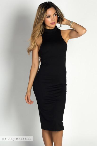 """Garcelle"" Black Turtleneck Sleeveless Jersey Bodycon Midi Dress"