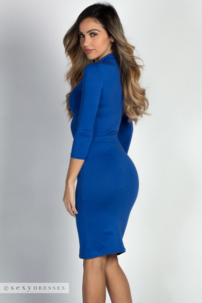 """Alva"" Royal 3/4 Sleeve Jersey Bodycon Turtleneck Midi Dress"