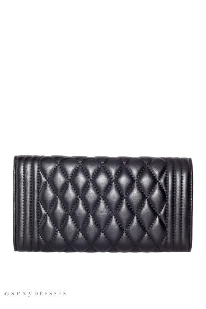 Black Quilted Vegan Leather Bag