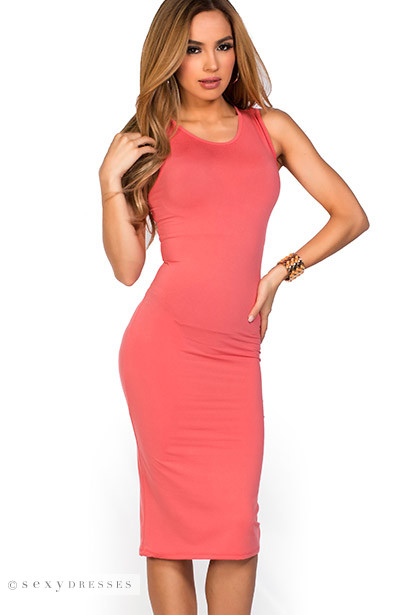 """Kiara"" Coral Sleeveless Casual Bodycon Midi Dress"