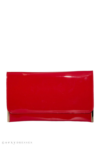 Red Patent Leather Essential Flap Clutch