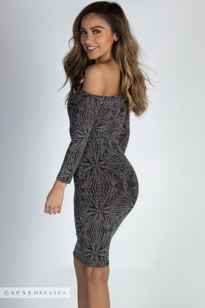 """See You Again"" Bronze & Silver Shimmer Long Sleeve Dress"