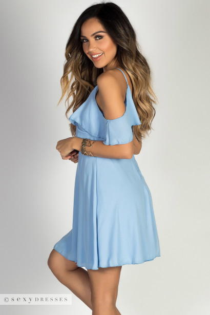 """Dream Girl"" Soft Blue Flirty Ruffled Off Shoulder Chiffon Party Dress"