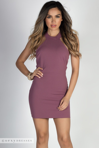"""Flirt"" Deep Mauve Sexy Crisscross Open Back Halter Dress"