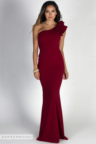 """True Love Burgundy Ruffle & Rosettes One Shoulder Mermaid Maxi Gown"