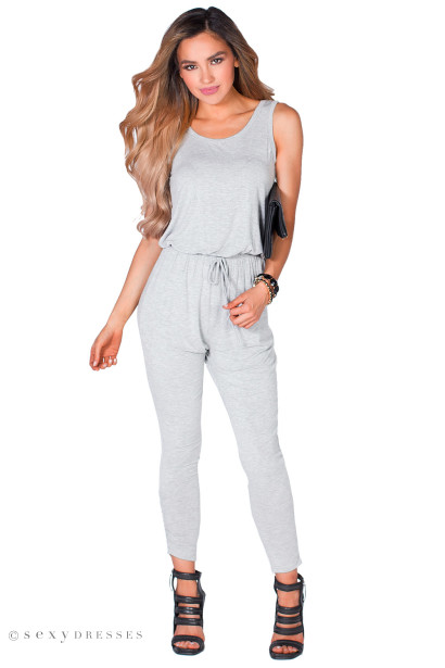 """Janessa"" Heather Gray Open Back Casual Jersey Jumpsuit"