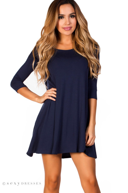 """Carly"" Navy Blue Strappy Back 3/4 Sleeve Jersey Trapeze Dress"