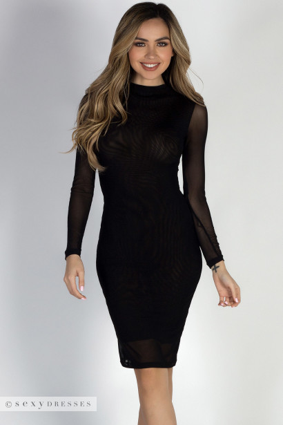Sheer Black Dresses with Sleeves