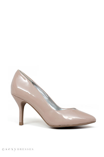 """Just Breathe""  3"" Nude Patent Leather Womens High Heel Pumps"