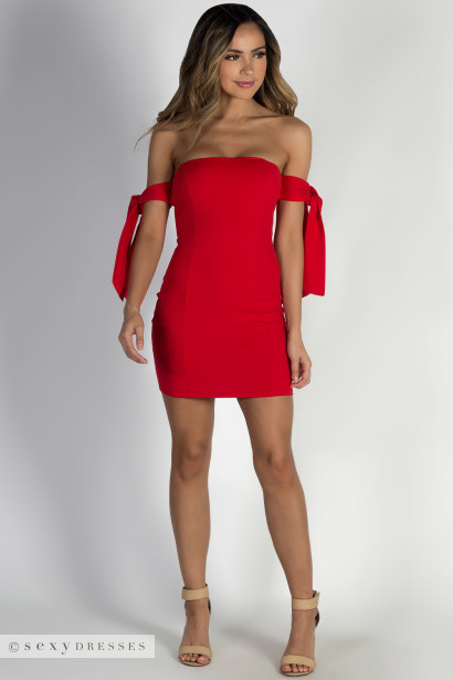 """Came Thru Drippin"" Red Off Shoulder Mini Dress"