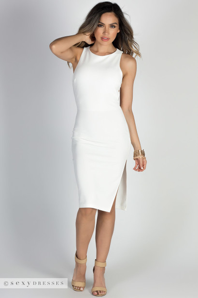 """""""Game of Love"""" Ivory Open Back Bodycon Midi Cocktail Dress"""