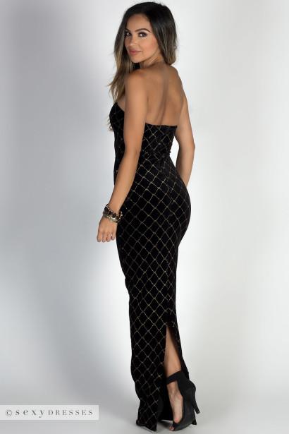 """Masquerade"" Black & Gold Diamond Pattern Strapless Velvet Maxi Gown"