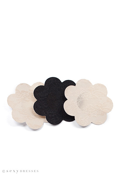 3-Pack Beige and Black Breast Petals Adhesive Nipple Covers