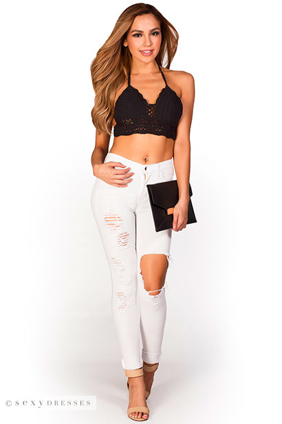 "Leslie"" White Cuffed High Waist Ripped Skinny Jeans"