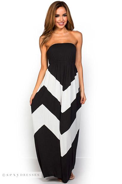 """Rafaela"" Black and White Graphic Chevron Strapless Summer Maxi Dress"