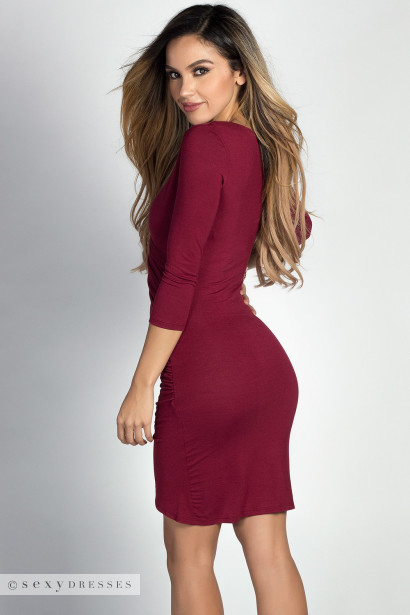 """Gemma"" Burgundy 3/4 Sleeve Ruched Jersey Wrap Dress"