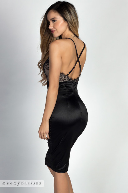 """Chrissy"" Black Satin & Lace Sexy Bodycon Midi Dress"
