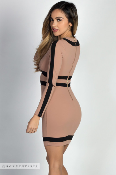 """Patience"" Taupe & Black Colorblocked Long Sleeve Mini Dress"