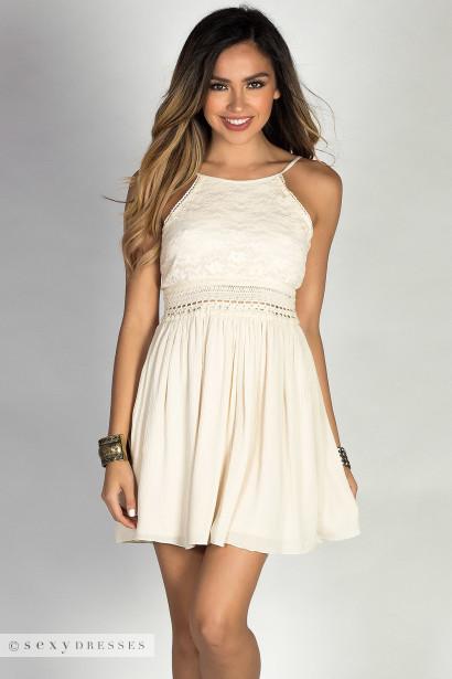 Layla Cream Lace Bodice High Neck Open Back Summer Dress
