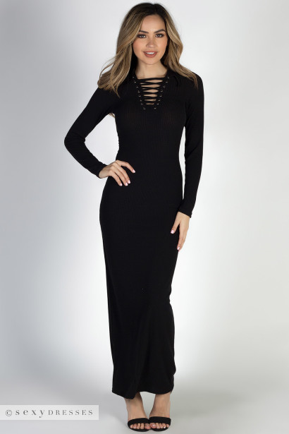 """I Got You"" Black Long Sleeve Lace Up Bodycon Maxi Dress"
