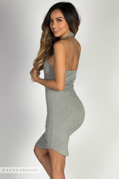 """Aim High"" Heather Gray Bodycon Ribbed Jersey High Halter Neckline Mini Dress"