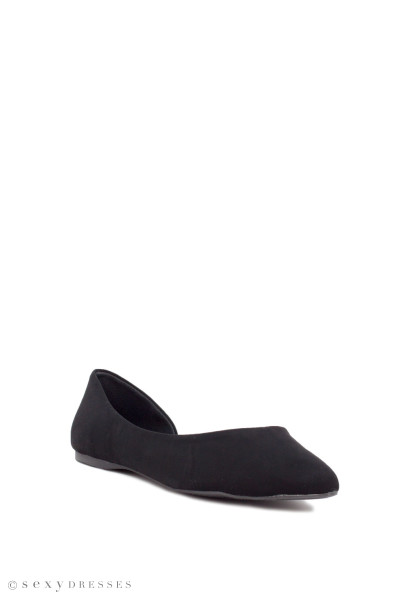 """Independent"" Black Suede Open Side Pointed Toe Ballet Flats"