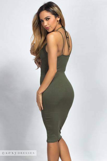"""Brylee"" Olive Green Multistrap Empire Waist Bodycon Midi Dress"