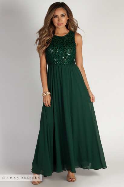 """Sweet Bliss"" Hunter Green Sleeveless Crochet Lace Maxi Dress"