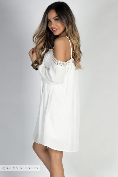 """La Boheme"" Ivory Lace Trimmed Off Shoulder Boho Mini Dress"