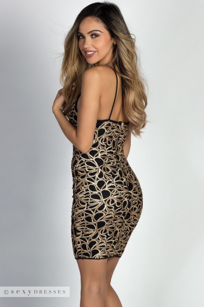 """Joy"" Gold Glitter Sequin Swirl Strappy Mini Dress"
