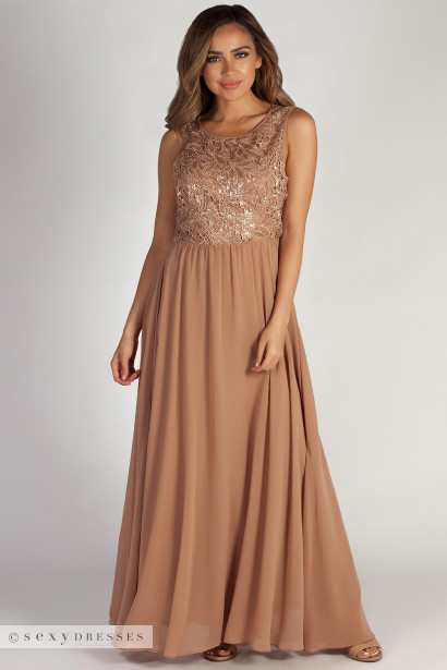 """Sweet Bliss"" Dark Champagne Sleeveless Crochet Lace Maxi Dress"