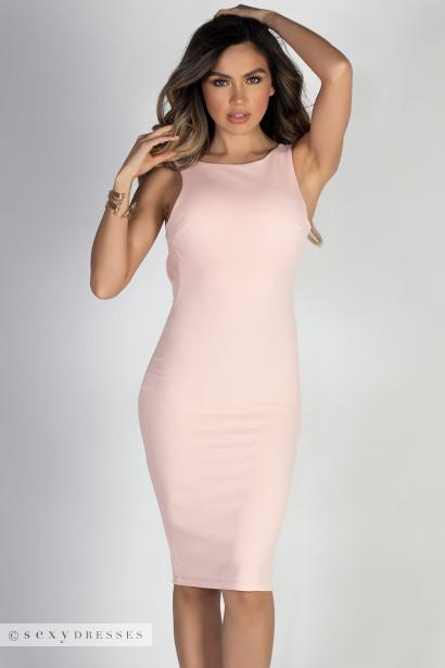 """So Fancy"" Blush Midi Sleeveless Bodycon Low Back Dress"