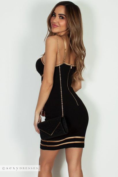 """""""Without Me"""" Black And Gold Spaghetti Strap Bustier Bodycon Dress"""
