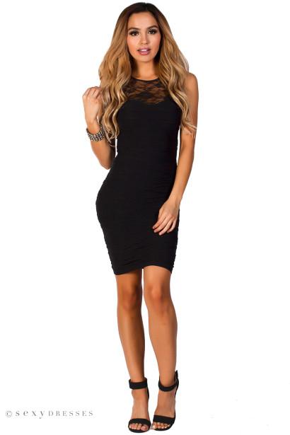 """""""Lola"""" Black Bodycon Lace Cut Out Tank Mini Dress"""